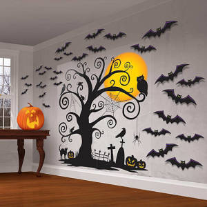 Bat Wall Decals Halloween Scene