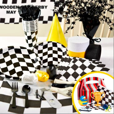 Black and White Check Birthday Party Packs