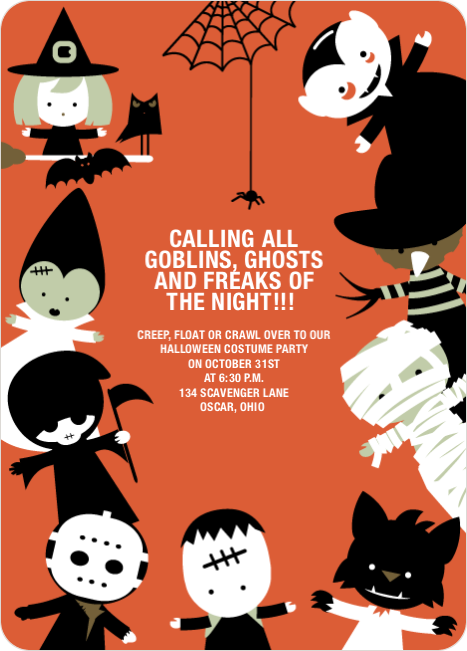 Costume Party Halloween Invitations