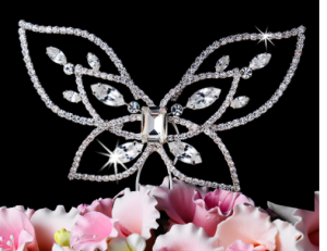 Crystal Elegance Butterfly Wedding Cake Topper