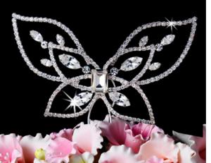Crystal Elegance Butterfly Wedding Cake Topper