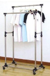 Double Rail Adjustable Telescopic Rolling Clothing and Garment Rack
