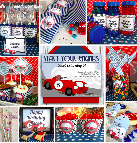 Bright Race Car Party Collection Birthday Printable Package