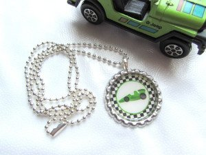 Race Car Bottle Cap Ball Chain Necklace