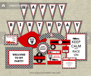 Black Red & White Race Car Party Package Printable