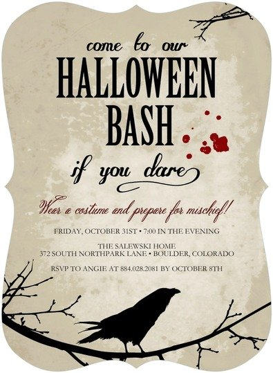 Raven Shadow Halloween Party Invitation