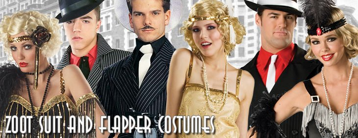 Roaring 20s Zoot Suits and Flapper Couples Costumes
