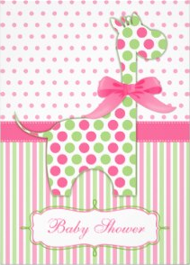 Pink and Green Giraffe Baby Shower Invitation