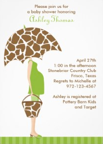 Chic Mom-to-Be Baby Shower Invitations with giraffe print umbrella