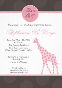 Pink Polka Dot Giraffe Baby Shower Invitation