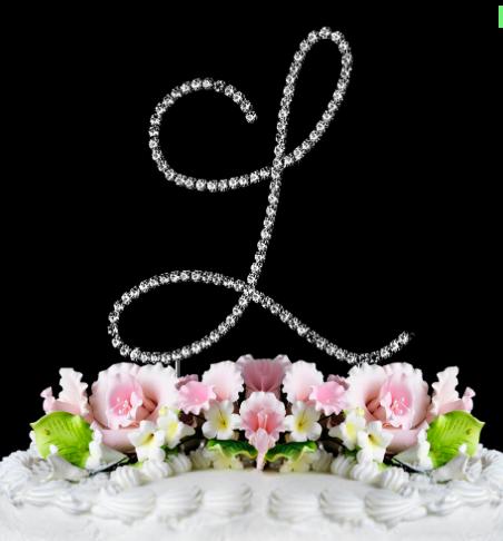 Swarovski Crystal Monogram Single Letter Cake Toppers