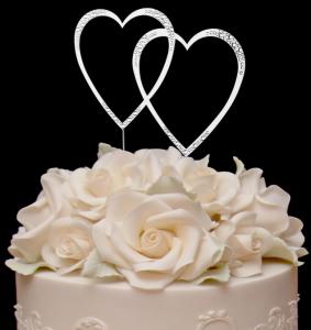 Swarovski Double Heart Wedding Cake Topper