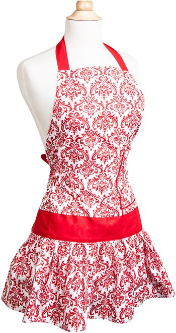 Womens Flirty Apron Classic-Red Damask