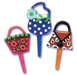 12 Plastic Couture Handbag Cupcake Picks Cake Toppers