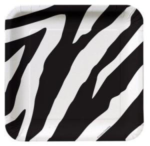 Animal Print Zebra Deep Dish Square Dessert Plates