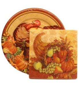 Assorted Thanksgiving Plates and Harvest Napkins