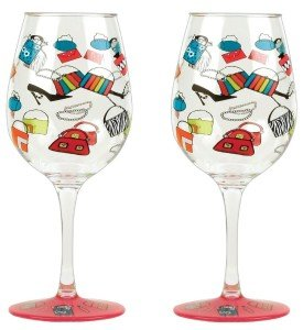 C.R. Gibson Lolita Love My Party Shopaholic Too 16-Ounce Acrylic Wine Glasses, Set of 2