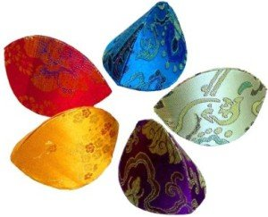 Coin Purses, Fortune Cookie' Style, Assorted Brocade Fabric, 24 Pack
