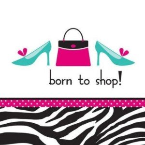 Creative Converting Pink Zebra Boutique Born to Shop Lunch Napkins, 16 Count