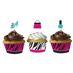 Creative Converting Pink Zebra Boutique Decorative Cupcake Wrappers with Coordinating Topper Decorations, 24-Piece Per Package