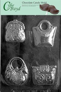 Cybrtrayd D090 4 Purses Fashion Chocolate Candy Mold with Exclusive Cybrtrayd Copyrighted Chocolate Molding Instructions
