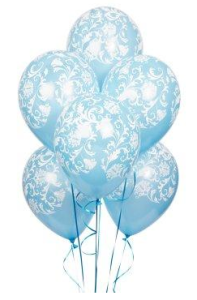 Damask Blue Latex Balloons