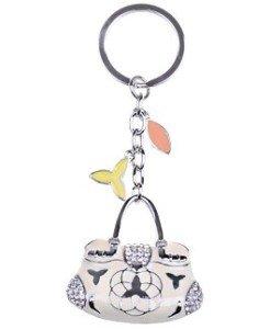 Enamel Cream Nude Ladies Designer Handbag Swarovski Crystal Rhinestone Keychain