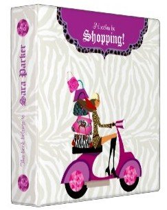 Fashion Purse School Binder Portfolio Zebra Purple