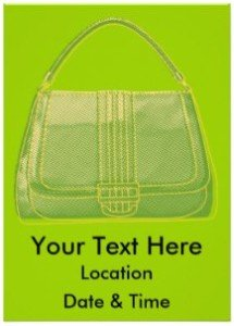 Green Pop Art Purse Design Custom Invitation