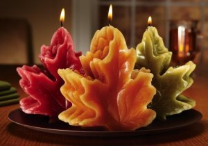 Harvest Maple Leaf Shaped Candle Set With Tray
