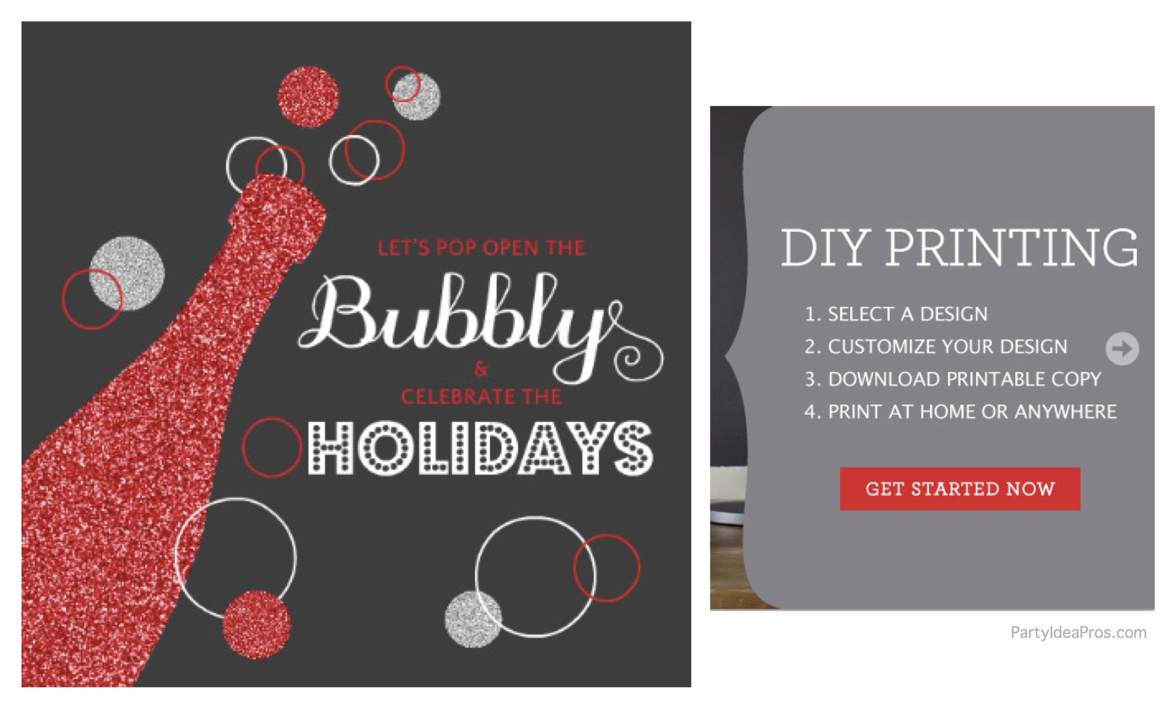 Holiday Party Invitation DIY Printing