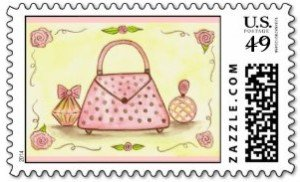 Ladies Valentine Pink Purse Rose Perfume Postage