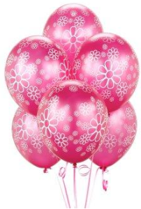 Magenta with White Flowers Balloons
