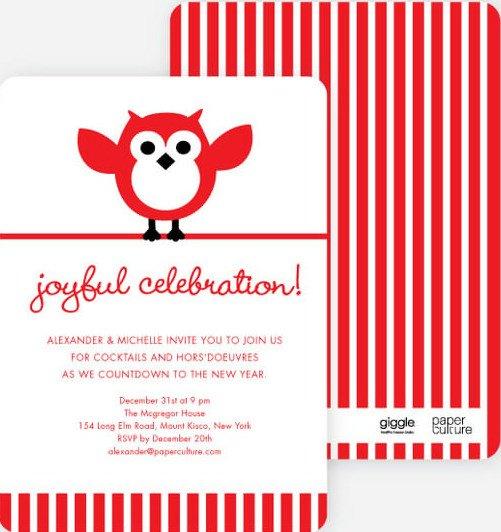 Owl Holiday Party Invitations