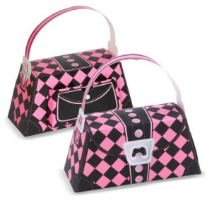 Pink and Black Argyle Empty Favor Purses