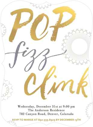 Pop Fizz Clink New Year Holiday Party Invitation