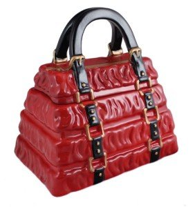 Red Pleated Handbag Cookie Jar