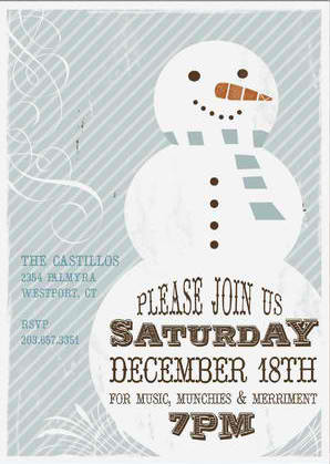Retro Snowman Holiday Party Invitations, Best Holiday Party Invitations