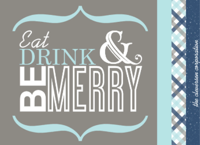 Eat Drink & Be Merry Holiday Party Invitations
