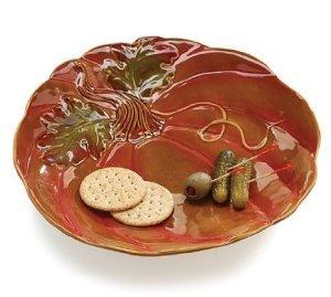 Thanksgiving Porcelain Pumpkin Shaped Serving Platter