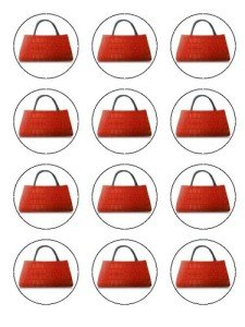 Twelve 2in Red Leather Handbag Edible Image Cup Cake Toppers Decorations on Edible Wafer Rice Paper