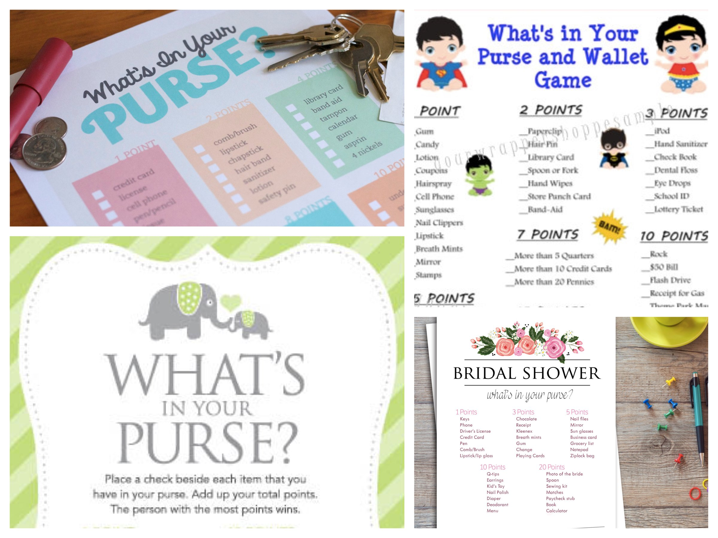 What's in Your Purse Printable Games