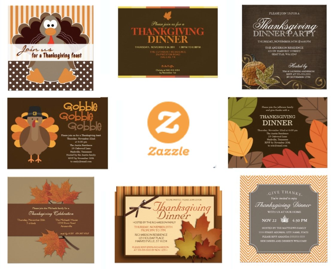 Zazzle Thanksgiving Invitations