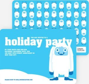 abominable snowman holiday invitations