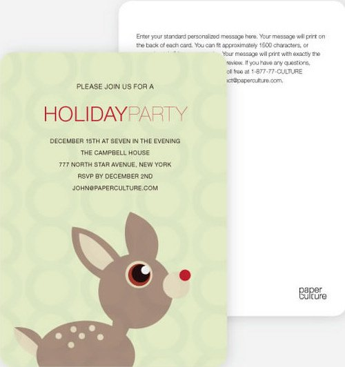 Deer Themed Holiday Party Invitations