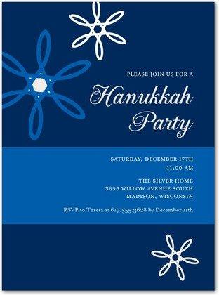 floating stars hanukkah party invitations