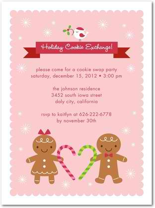 gingerbread sweethearts holiday party invitations