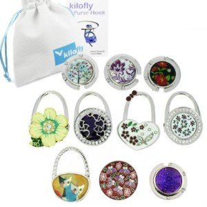 kilofly Purse Hook [Set of 10] - Foldable - Blossoms Garden, with kilofly Pouch