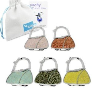 kilofly Purse Hooks Value Pack [Set of 5]- Foldable - Miley, with kilofly Pouch