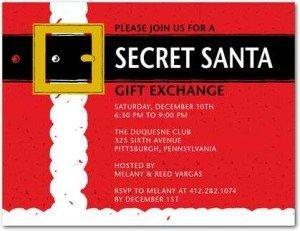 secret santa holiday party invitations
